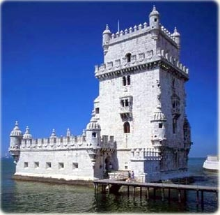 Tower of Belem in Tejo river, Lisbon, Portugal. A fortress constructed from 1514 to 1520.