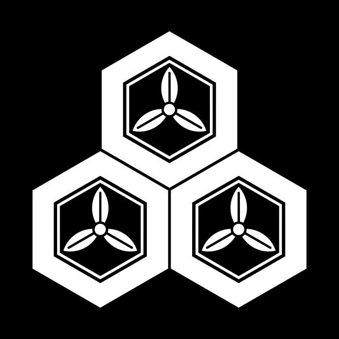 三盛亀甲に三葉 みつもりきっこうにみつば Mitsumori kikkou ni mitsuba  The design of 3 Kikkou & Mitsuba.