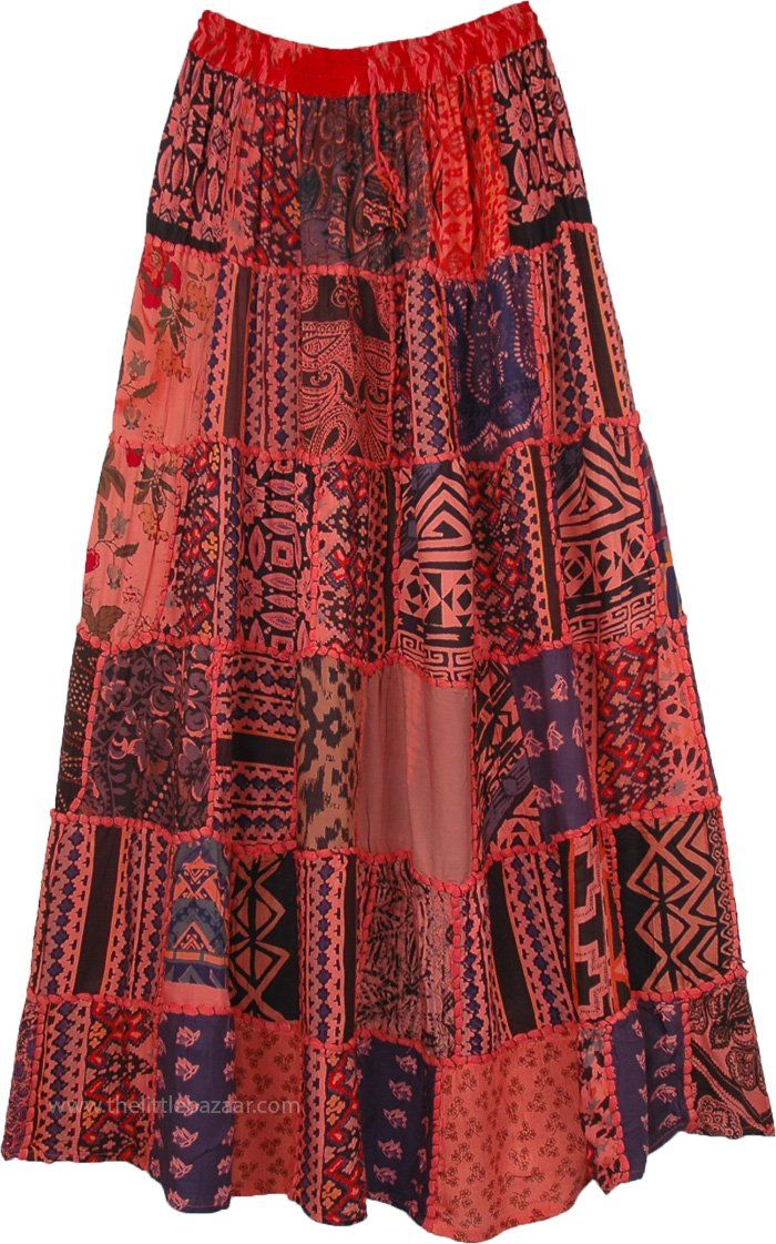 3d965db3a5 Spanish Punch Red Gypsy Patch Tribal Skirt in 2019 | Fun Happy ...