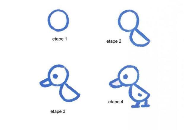 Apprendre à dessiner Un petit canard - Dessins simples