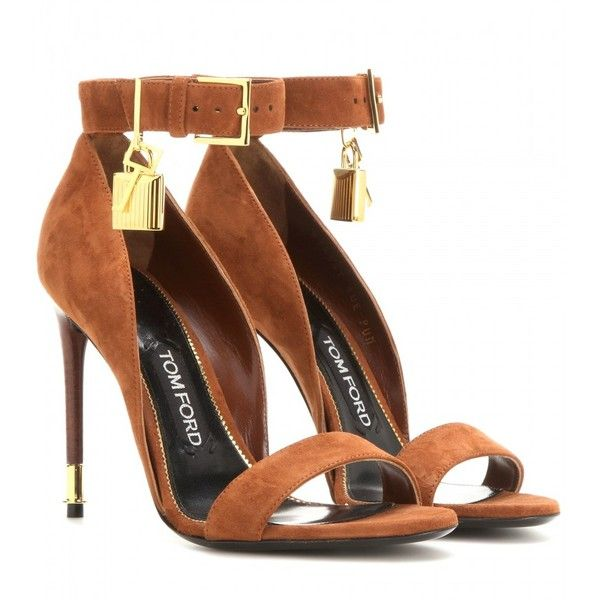 Tom Ford Embellished Suede Sandals ($1,230) ❤ liked on Polyvore featuring shoes, sandals, heels, sapatos, high heels, brown, embellished sandals, suede leather shoes, tom ford and suede shoes