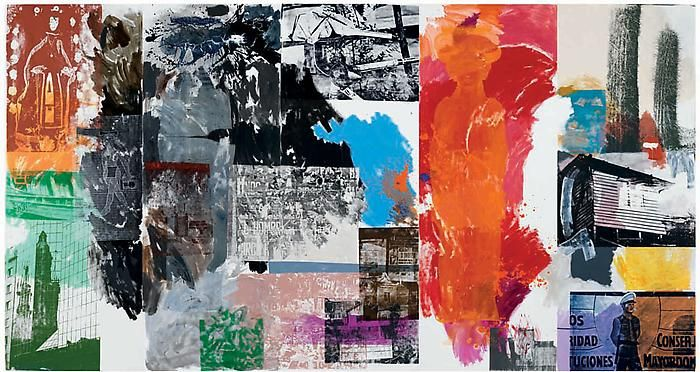 Robert Rauschenberg collage of prints, photos, and paintings in all colors at the Gagosian