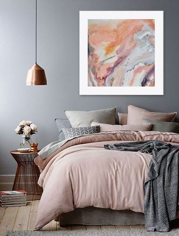 Large Fluid Painting Above Bed Decor Blush Pink Wall Art Large Pink Painting Pink Gray Painting Light Salmon Pink Pastel Above Bed Decor Bed Decor Bedroom Design