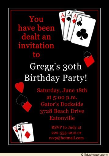 Casino Vegas Poker Birthday Party Invitation