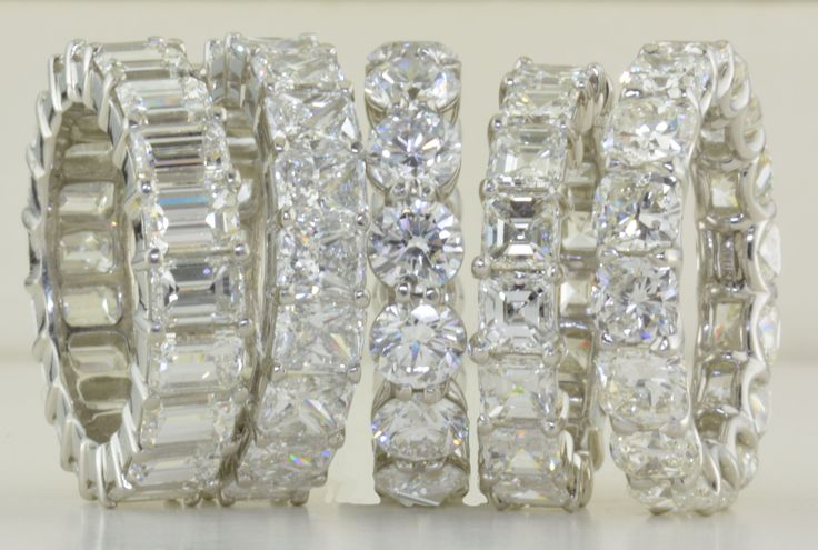 Emerald cut, Radiant cut, round, Asscher cut, cushion cut eternity bands