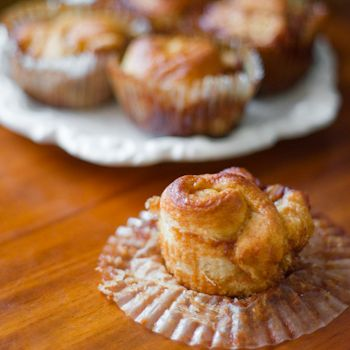 Marzipan Sticky Buns | thumb in plum