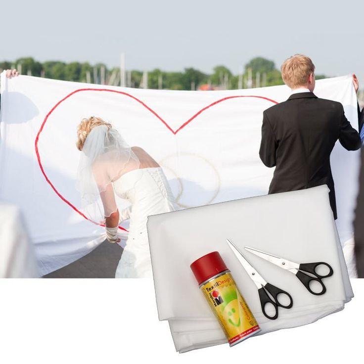 Hochzeit Herz Bettlaken ausschneiden