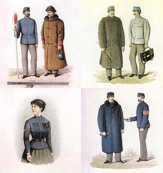 The railway uniform in several places even had an influence on rural clothing. For example, in the town of Tura (Hungary), it substituted for the traditional male folk dress: the lads ordered clothes at the local taylor which imitated the railway uniform.