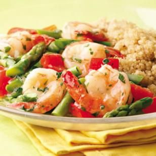 Lemon Garlic Shrimp and Veggies  Per serving: 227 calories; 7 g fat ( 1 g sat , 4 g mono ); 174 mg cholesterol; 14 g carbohydrates; 0 g added sugars; 28 g protein; 4 g fiber; 514 mg sodium; 670 mg potassiumSeafood Recipe, Lemongarl Shrimp, Vegetables Recipe, Shrimp Recipe, Lemon Garling Shrimp, Lemon Garlic, Garlic Shrimp, Healthy Recipe, Healthy Seafood