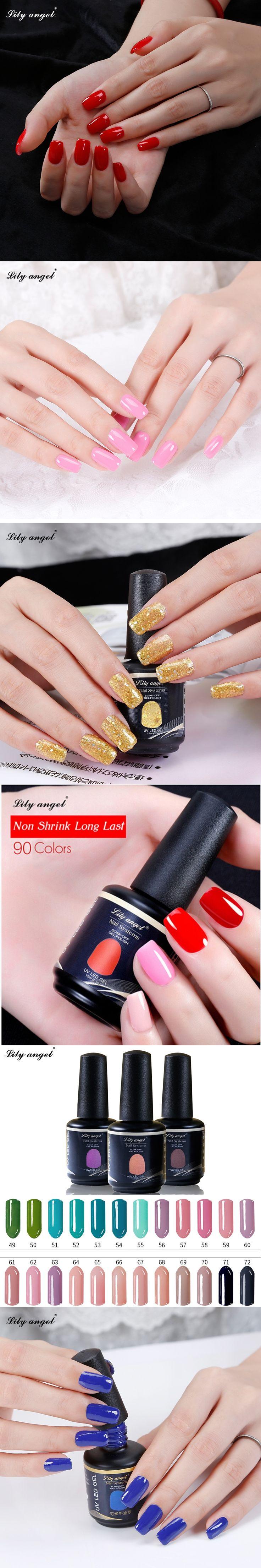 Lily angel 15ml 90 Gorgeous Colors Available UV Lamp Soak Off UV Gel Nail Polish Vernish Semi Permanent Gel Polish NO.49-72