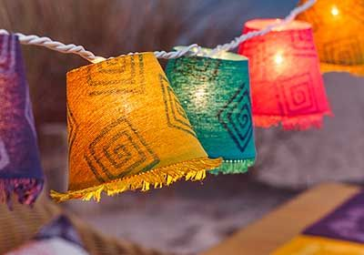 Handmade Lanterns for Garden Party created using Fabric Creations block stamps and fabric inks!