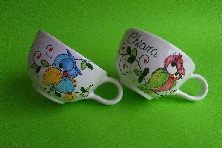 ceramica come mestiere: Tazza da latte personalizzate con soggetto gufo!!
