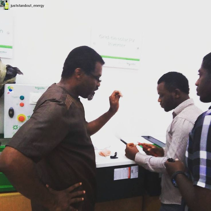 Joseph Inyang our Chief Technical officer saying ; one more thing you need to know about grid tie solar #PV inverters.  #youneverstoplearning #lifeison @schneiderelectric #power #electric #solar #inverters #solarcharger #efficiency #solarpv
