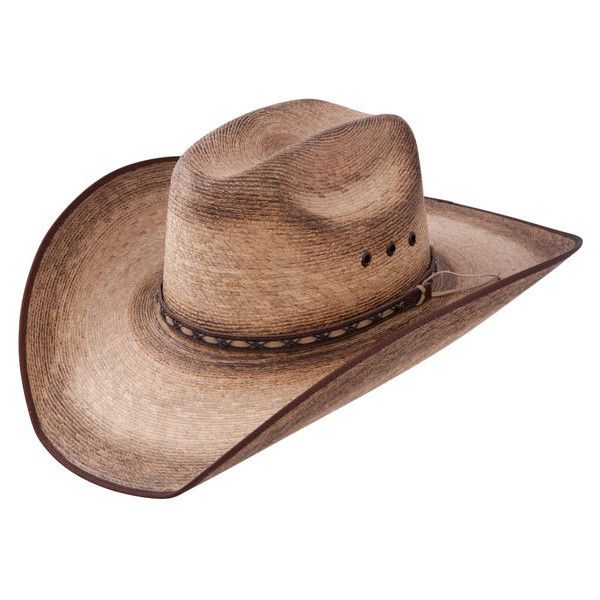 Resistol Jason Aldean Amarillo Sky Mexican Palm Cowboy Hat ❤ liked on Polyvore featuring accessories, hats, palm hat, palm leaf hats, palm leaf cowboy hats, western hats and palm tree hat