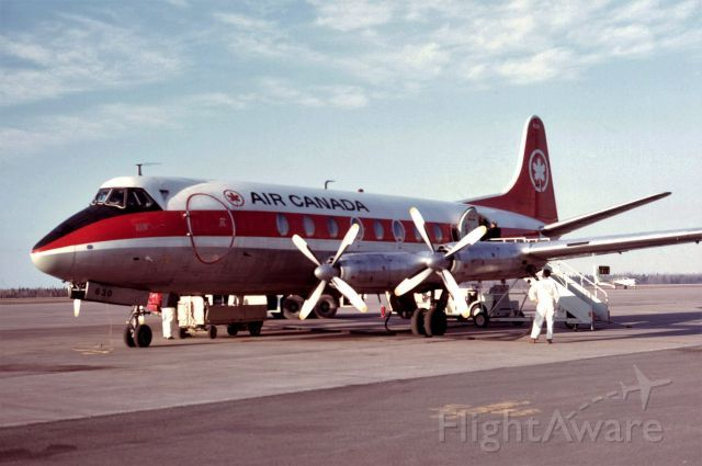 Air Canada, VICKERS Viscount (C-FTHL) at CYQM Last Moncton passenger boarding the last Viscount flight from Halifax to retirement in Montreal via Moncton. April 28, 1974.
