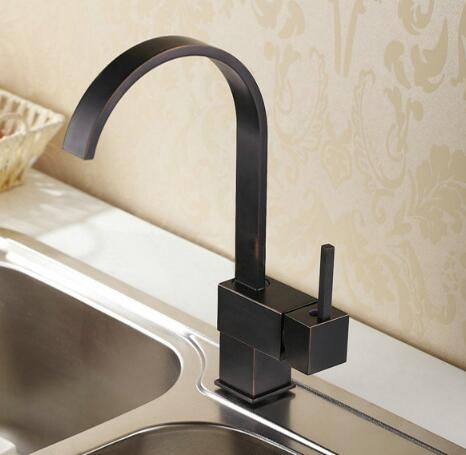 New Arrivals high quality brass black oil brushed square cold and hot bathroom kitchen faucet sink faucet basin mixer tap