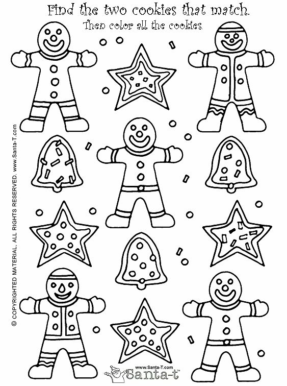 christmas cookie match game and coloring page kindergarten pinterest preschool winter. Black Bedroom Furniture Sets. Home Design Ideas