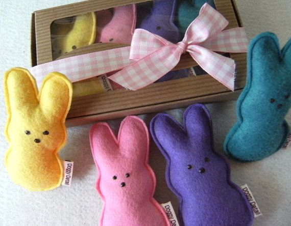 Catnip Peeps Wool Felt Easter Cat Toys by misohandmade on Etsy, $15.00  HA! Sooooo smart and a bit funny.....