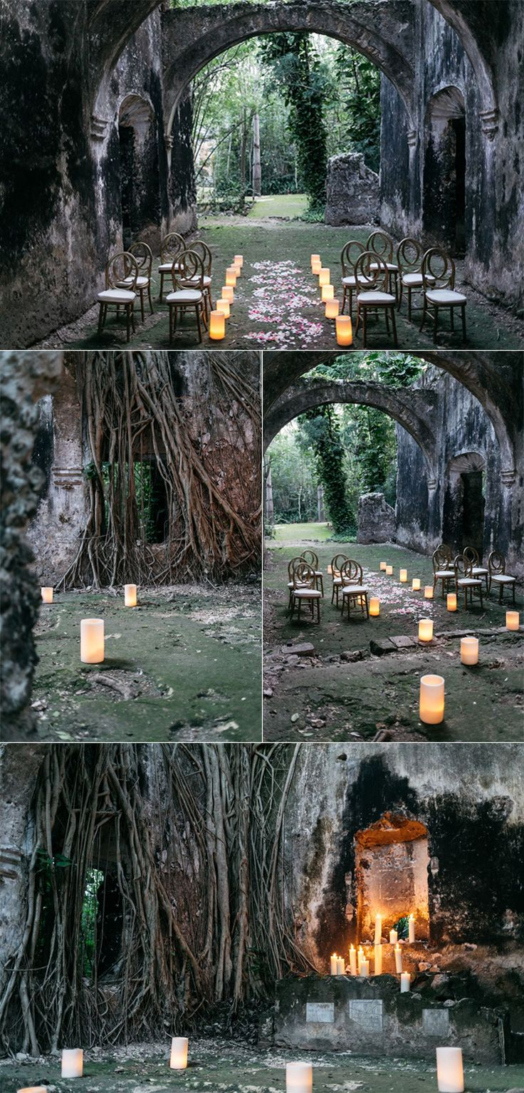 A magical wedding ceremony setup in Mexico at this unique, jungle venue, Hacienda Uayamon. Designed by The Eventeur, Photo by The Love Studio