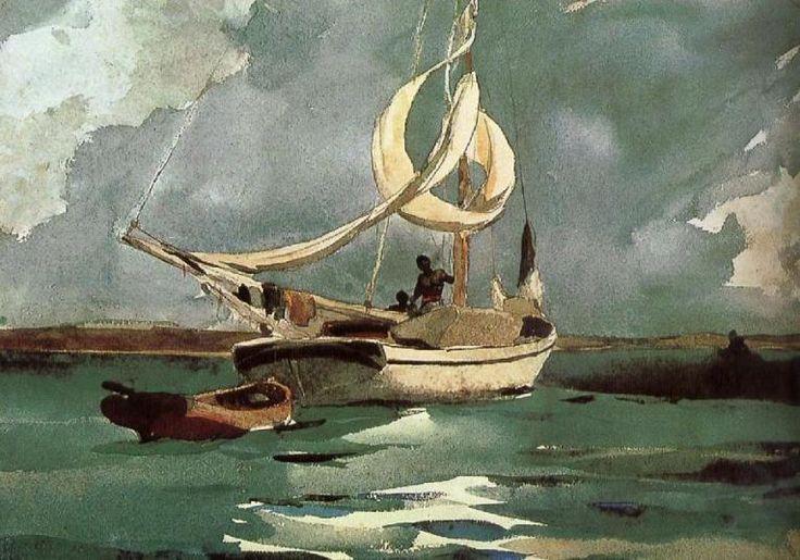Navegando em Sloop, Bermudas, 1903 Winslow Homer  (EUA 1836-1910) aquarela