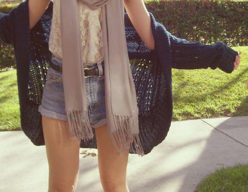 Summer clothing. #highwaistedshorts #lace #scarf #cardigan