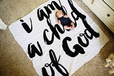 Modern Burlap - Organic Cotton Wrap - I Am A Child Of God | Everythings Rosie
