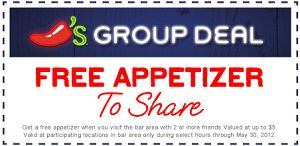 FREE Appetizer at Chilis Grill and Bar | The Freebie Addiction: Chilis Coupon