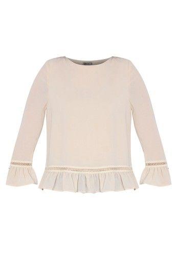 - Blus- Poliester- Warna sand- Kerah bulat- Slip on style- Lengan panjang dengan desain flare- Detail lace- Relaxed fit- LinedUkuran pakaian normal, pilih sesuai ukuran Anda biasanya