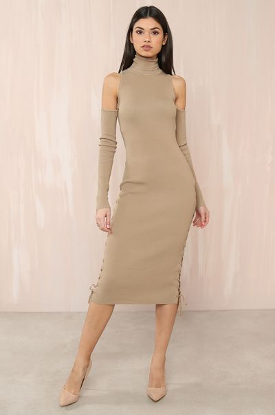 Drawn Together Dress - Nude