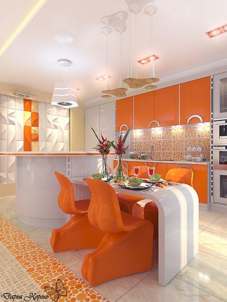 Кухня-гостиная оранжевая / Ваш Королевский дизайн