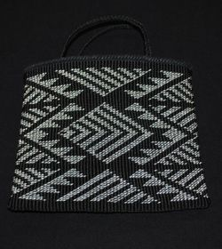 black and white bag taniko pattern