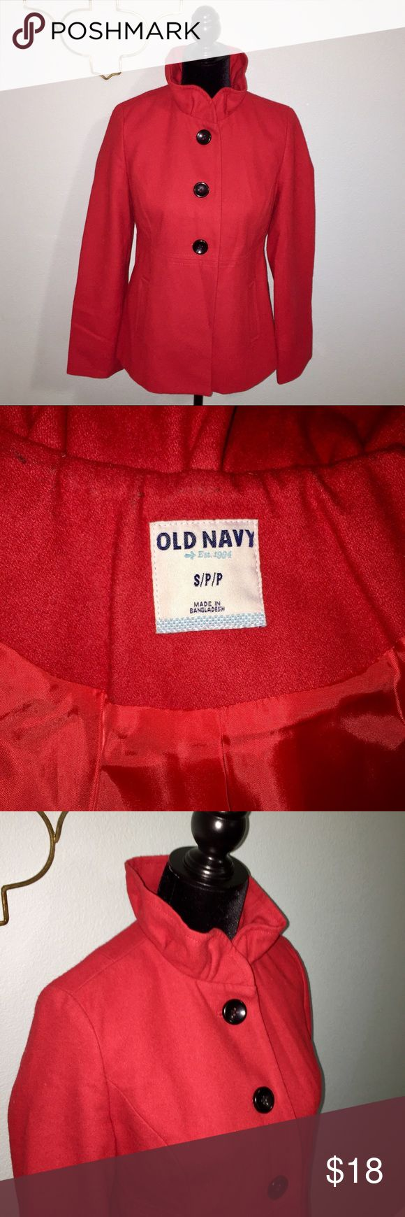 Old Navy red wool ruffle collar pea coat Adorable Old Navy wool, ruffle collar pea coat. Size small. Chest 36 inches, collar to hem 25 inches, sleeve 30 inches. 44% polyester, 38% wool, 10% rayon, 7% acrylic. Old Navy Jackets & Coats Pea Coats