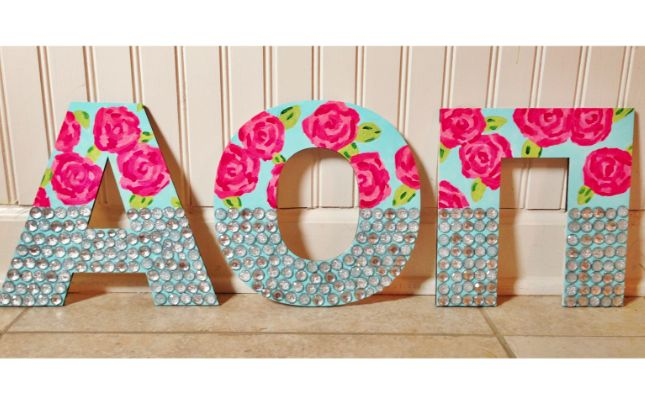 Alpha Omicron Pi Lilly Pulitzer & Rhinestone Wooden Letters
