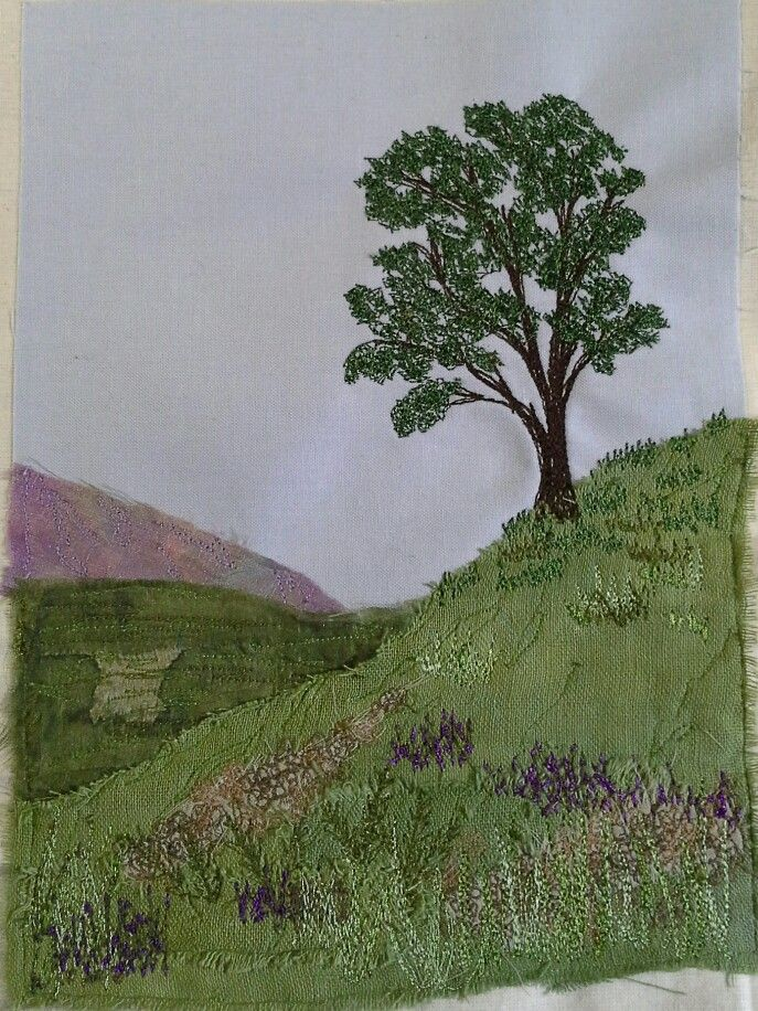 I made this! Machine embroidered landscape. ...Wendy Dolan workshop.