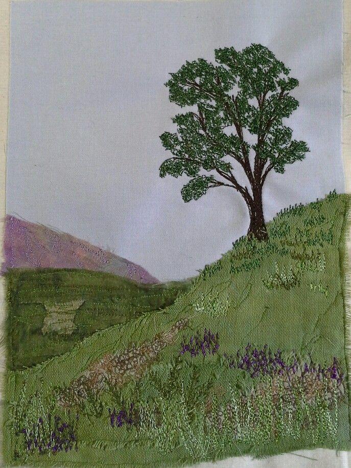I made this! Machine embroidered landscape. ...Wendy Dolan workshop.
