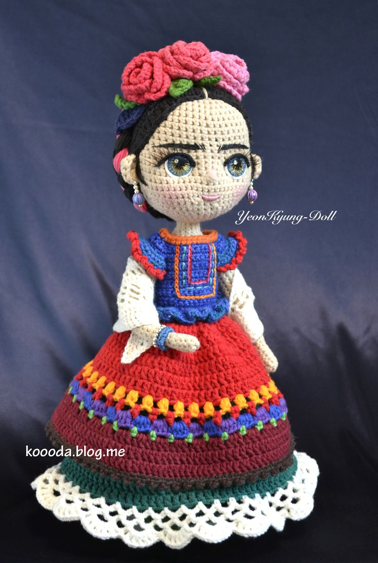 Frida Kahlo Crochet Doll