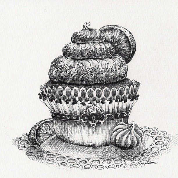 Cupcake Drawing - Original Pen and Ink Artwork By ...
