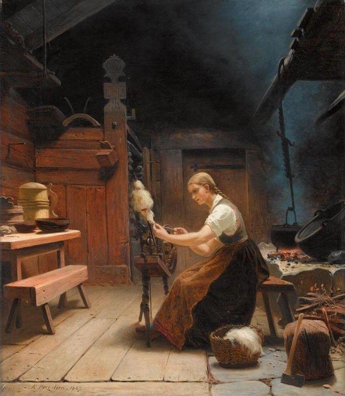 WOMAN SPINNING WOOL, BY KNUD BERGSLIEN