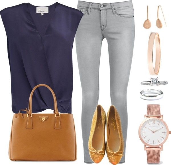 Andrea Moda y Asesoría: Blusa Azul O. Corta Jean gris Claro