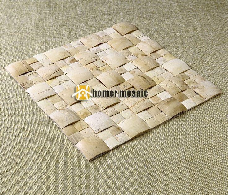 3D выпуклый белый бежевый цвет натуральный скорлупы кокосового ореха мозаичная плитка на сетки 30 x 30 см стены декор стены мозаика купить на AliExpress
