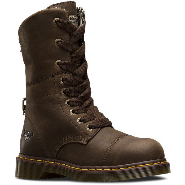 Dr. Martens Leather Leah Safety Toe Industrial & Rigger Boots (8.630 RUB) ❤ liked on Polyvore featuring shoes, boots, dark brown, safety toe shoes, real leather boots, leather shoes, fleece-lined shoes and dr martens shoes