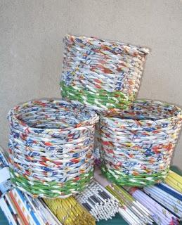 cesti coprivaso da riciclo volantini del supermercato - by intreccio quotidiano