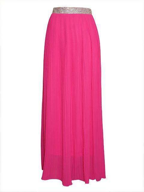Przepiękna plisowana, długa spódnica z ozdobnym paskiem wyszywanym z przodu mieniącymi się cekinami.