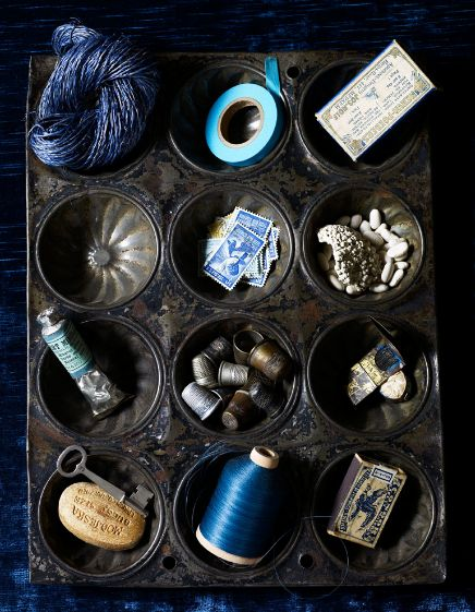 collections: Muffintin, Vintage Tins, Blue, Color, Muffins Pan, Muffins Tins, Cakes Pan, Cups Cakes, Sewing Notions