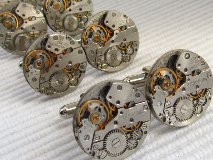 2 Matching sets of Steampunk Cufflinks Groomsmen cufflinks Father of The Bride Father of The Groom Steampunk Wedding gift Usher cufflinks by Timewatch on Etsy