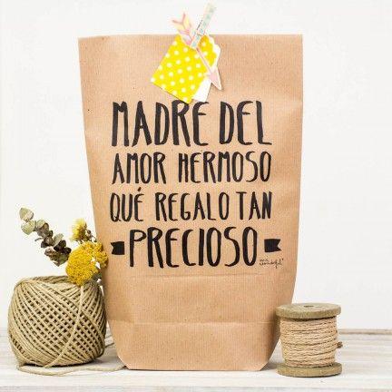 """Pack de 5 bolsas kraft """"Madre del amor hermoso, qué regalo tan precioso"""""""