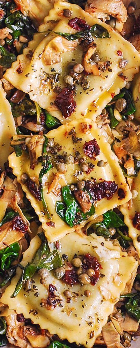 Italienische Ravioli mit Spinat und Artischocken   – Pins – Pasta