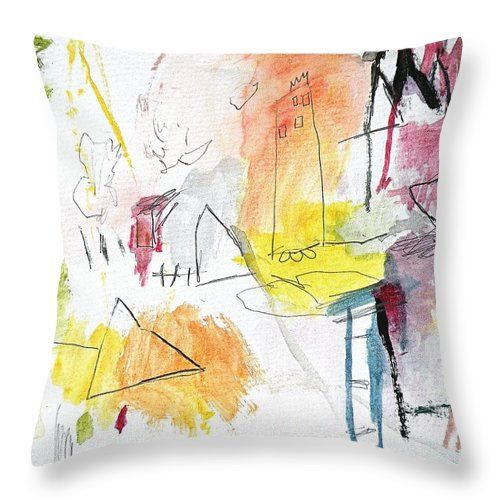 Watercolor Throw Pillow featuring the painting Summer Watercolor Fantasy 3 by Janis Kirstein