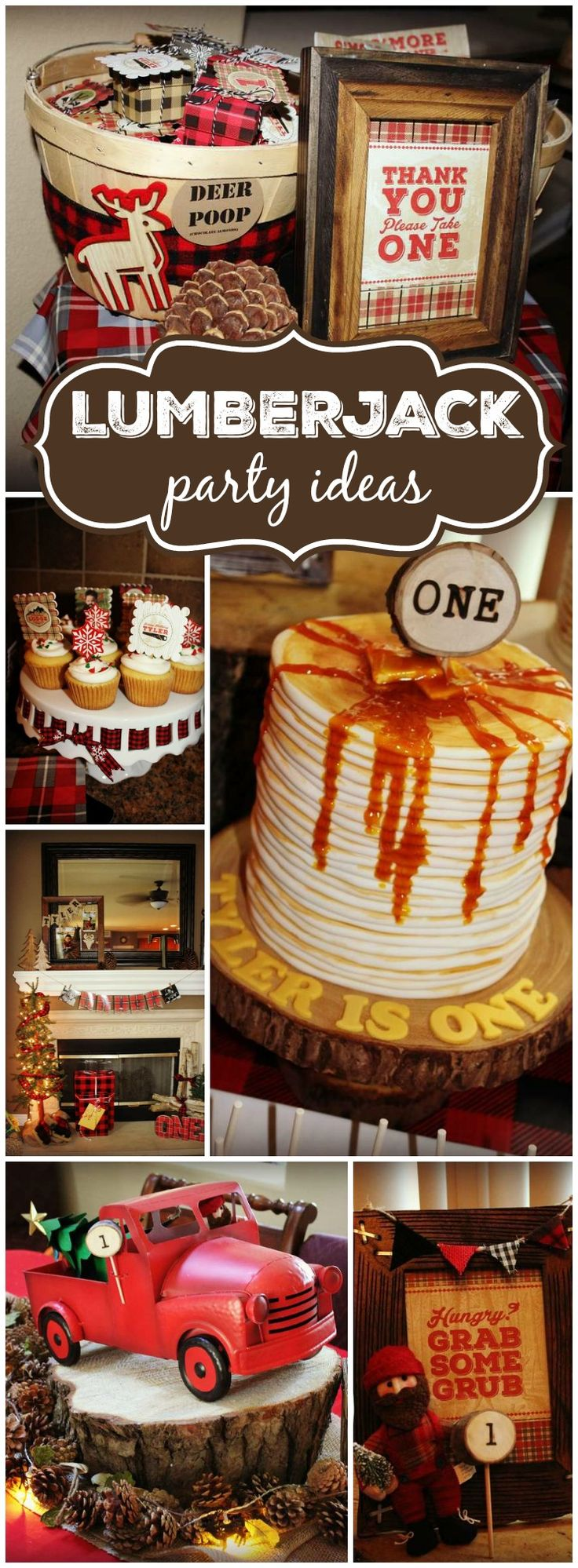 Here's an incredible lumberjack first birthday! You have to see the pancake cake on slide 9! See more party ideas at CatchMyParty.com!