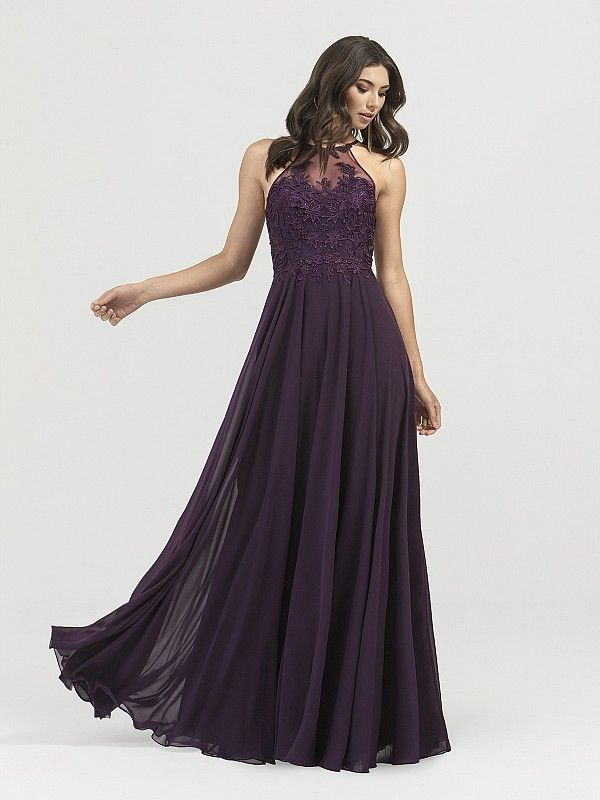 f6097b87078c Val Stefani 3402RG is a halter lace floor length dress in purple. The a-line  silhouette and light-weight chiffon material makes it easy for any girl to  ...